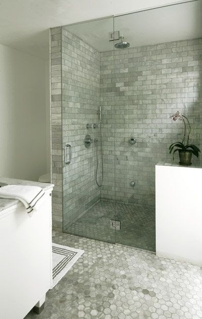 Suzie: LA Times - Bianco carrara marble hexagon tile bathroom floor and white and black bath ...