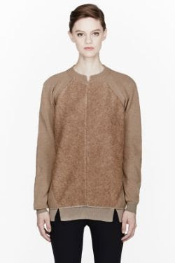 Stella McCartney Beige Paneled Crew Neck Sweater