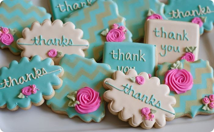 "gold chevron stenciled floral thank you cookies ... and thoughts on overcoming ""cookie decorating perfection angst"" ;)"