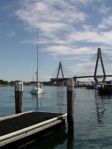 Bollards, boat and bridge