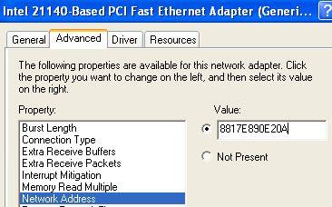 Change MAC Address of Network Adapter