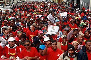 Striking Transnet workers march to Parliament in Cape Town, Tuesday, 11 May 2010 to voice their grievances about a salary dispute with the parastatal's management. by Pan-African News Wire File Photos