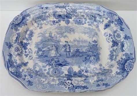 details  antique davenport pottery blue white meat