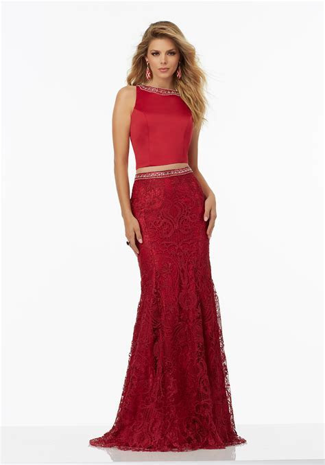 Two Piece Prom Dress with Beaded Satin Top   Style 99110