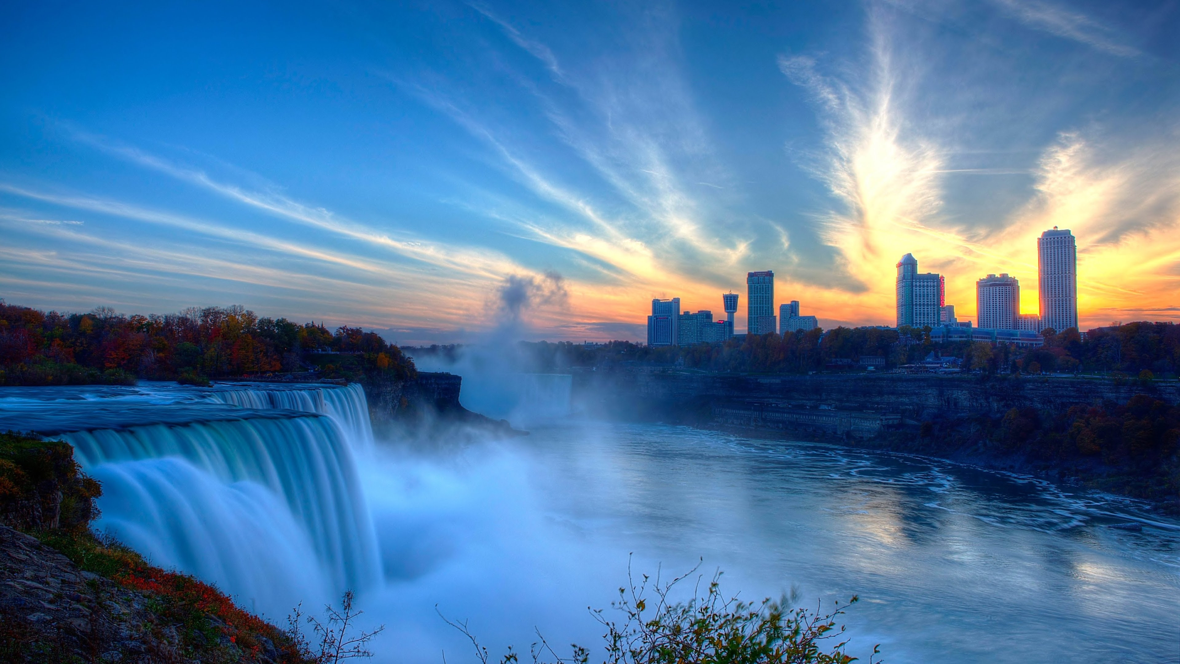 Beautiful Sunset at Niagara Fall Full HD [3840 X 2160]