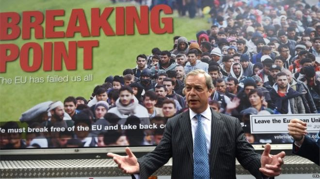 MEP Nigel Farage standing in front of a poster showing a long queue of migrants