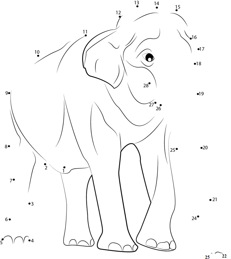 connect the dots animal elephant