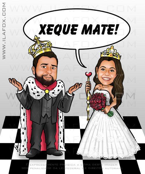 caricatura noivos, casal, rei e rainha, cheque mate, no tabuleiro de xadrez, caricatura para casamento by ila fox