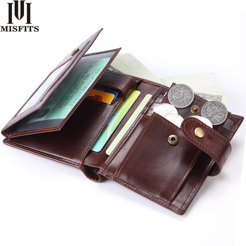 Hot MISFITS Men Wallets Genuine Leather Purse Mens Money Bag Card Holder Wallet Man Leather Coin Pocket Wallet Male