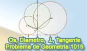 Problema de Geometría 1019 (English ESL): Circunferencia, Diámetro, Perpendicular, Radio, Cuerda, Tangente, Centro