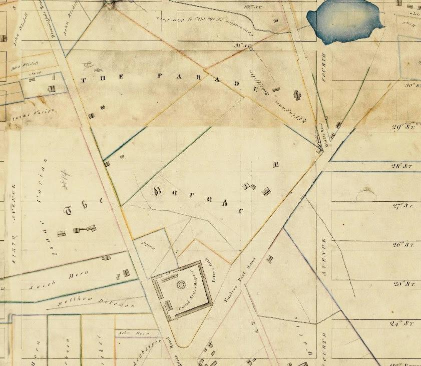 Randel 1811 Map Parade Ground Casper Samler Farm