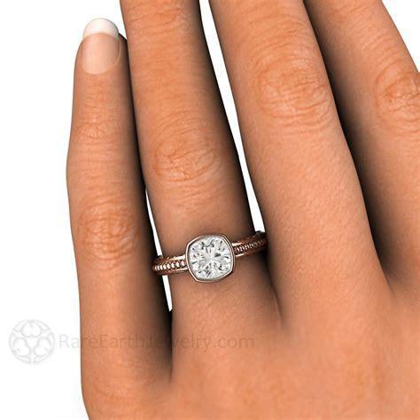 Moissanite Cushion Wedding Ring Solitaire Bezel 14K or 18K