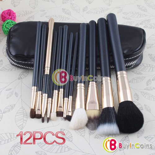 New Professional Makeup 12 PCs Brush Brushes Cosmetic Make Up Set With 2 Case Bag Kit