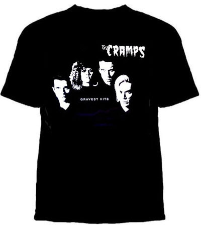 Cramps- Gravest Hits on a black shirt