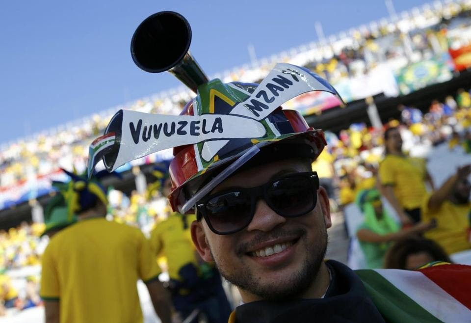 A fan before the opening ceremony of the 2014 World Cup at the Corinthians arena on June 12.