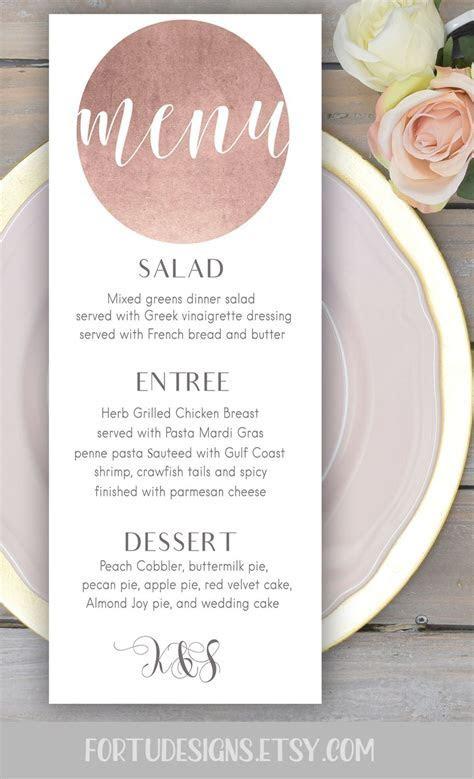 Rose gold wedding menu card   Printable personalized