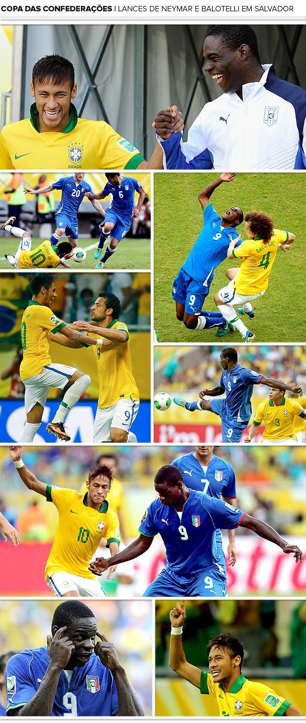 mosaico Neymar e Balotelli jogo Brasil e Itália (Foto: Editoria de Arte / Globoesporte.com)