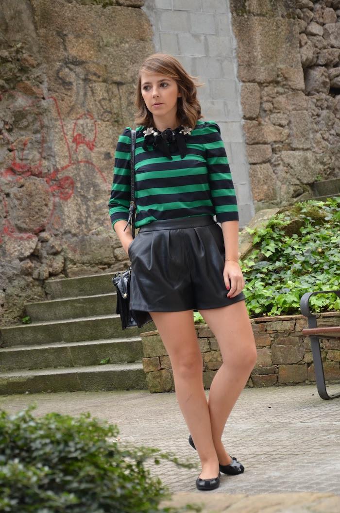 shorts piel zara