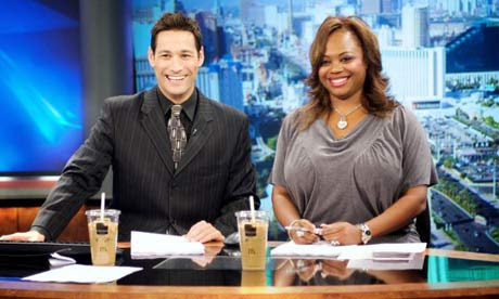 Fox 5 News anchors Jason Feinberg and Monica Jackson and the McDonald's coffee, filled with fake ice