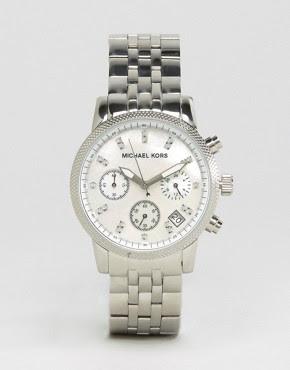 Image 1 ofMichael Kors Silver Chronograph Bracelet Watch