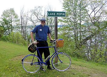 The Quicker Vicar at the Lake Pepin sign