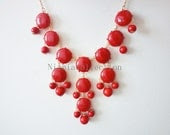 Deep Red-Bubble Statement Hollywood elegant Necklace - Nianiacollection