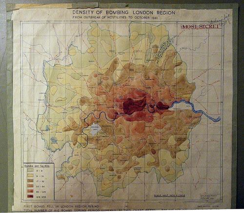 Density of bombing London region from outbreak of hostilities to October 1941