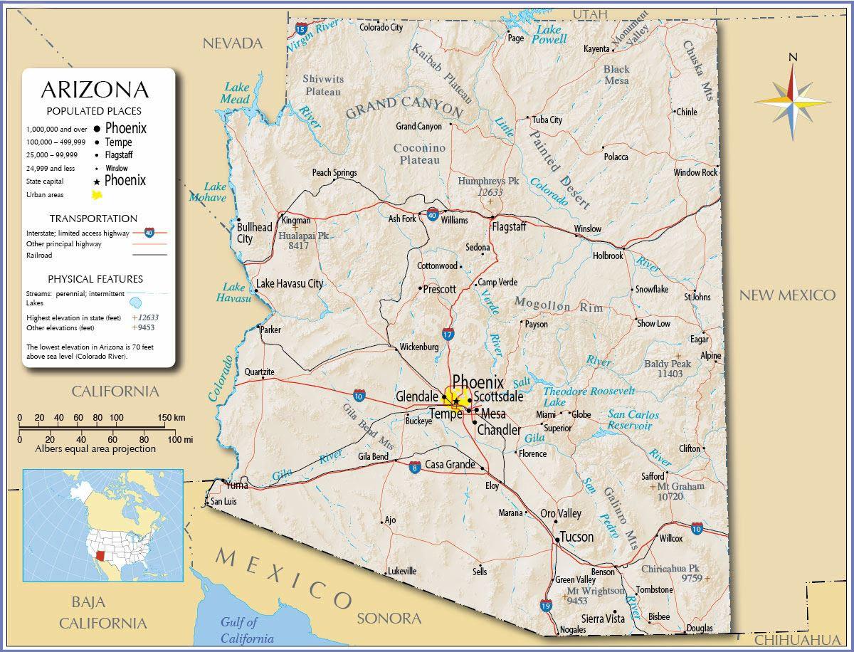 Show Map Of Arizona.Show Me A Map Of Arizona Gadgets 2018