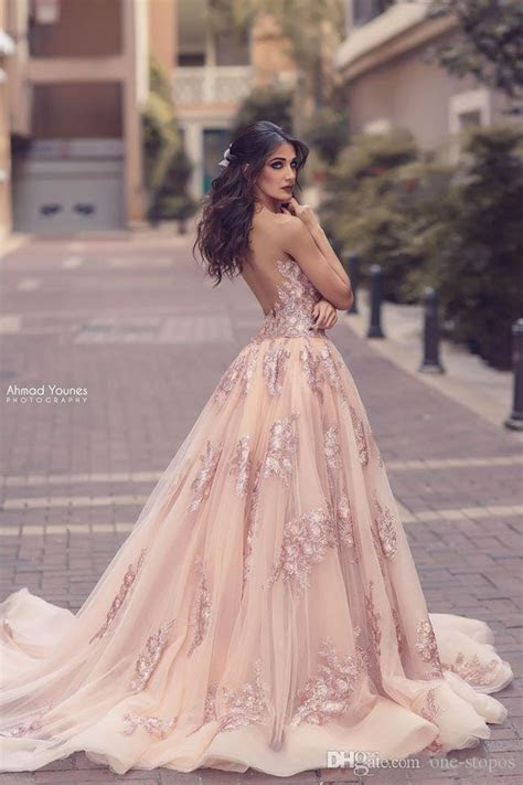 2017 Sexy Blush Pink Prom Dresses Deep V Neck Lace