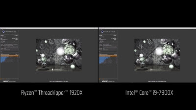 Cinebench R15: Threadripper 1920X vs. Intel Core i9-7900