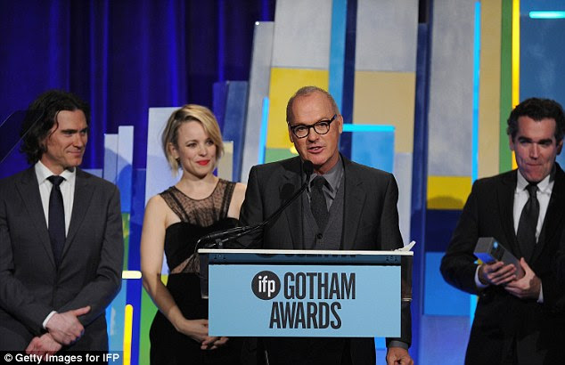 Honoured: Keaton took the podium as his co-stars looked with pride; the Spotlight cast was awarded with the Special Jury Award For Ensemble Cast