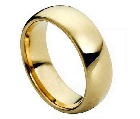 7MM Tungsten Carbide Mens Wedding Band Ring Domed Gold
