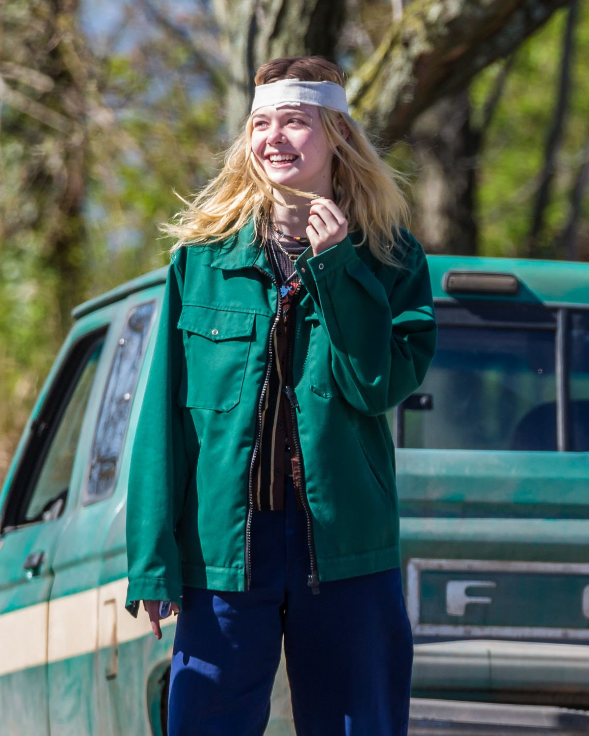 ELLE FANNING on the Set of I Think We