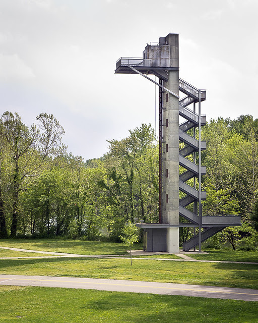Mill Race Park Observation Tower (1990) in Columbus, Indiana, by Stanley Saitowitz