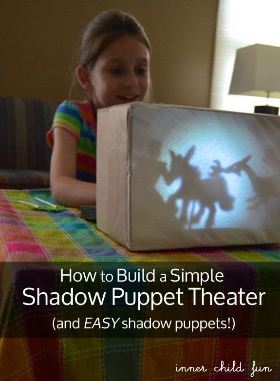 Build a Simple Shadow Puppet Theater and EASY shadow puppets -- great for encouraging lots of imaginative story telling fun!