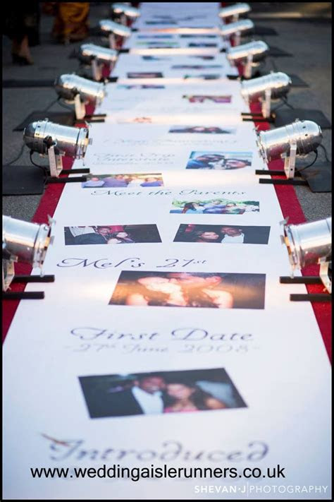 A 'Story Tale Timeline' wedding aisle runner with photos