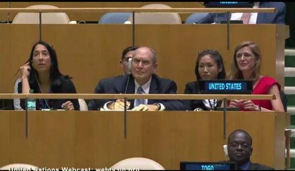 La Embajadora Samantha Power en el podio de Estados Unidos en ONU.