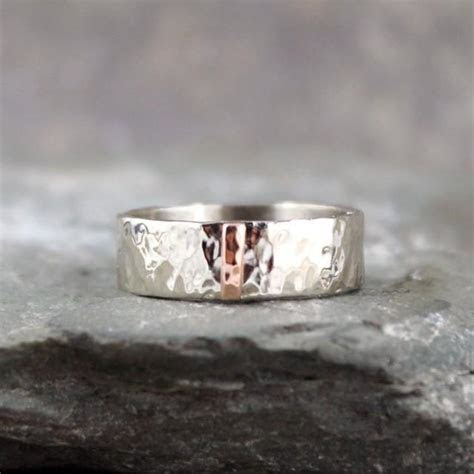 Hammered 14K White Gold With 14K Pink Rose Gold Vertical