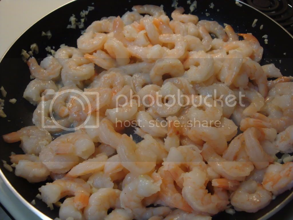 warming shrimp in the pan