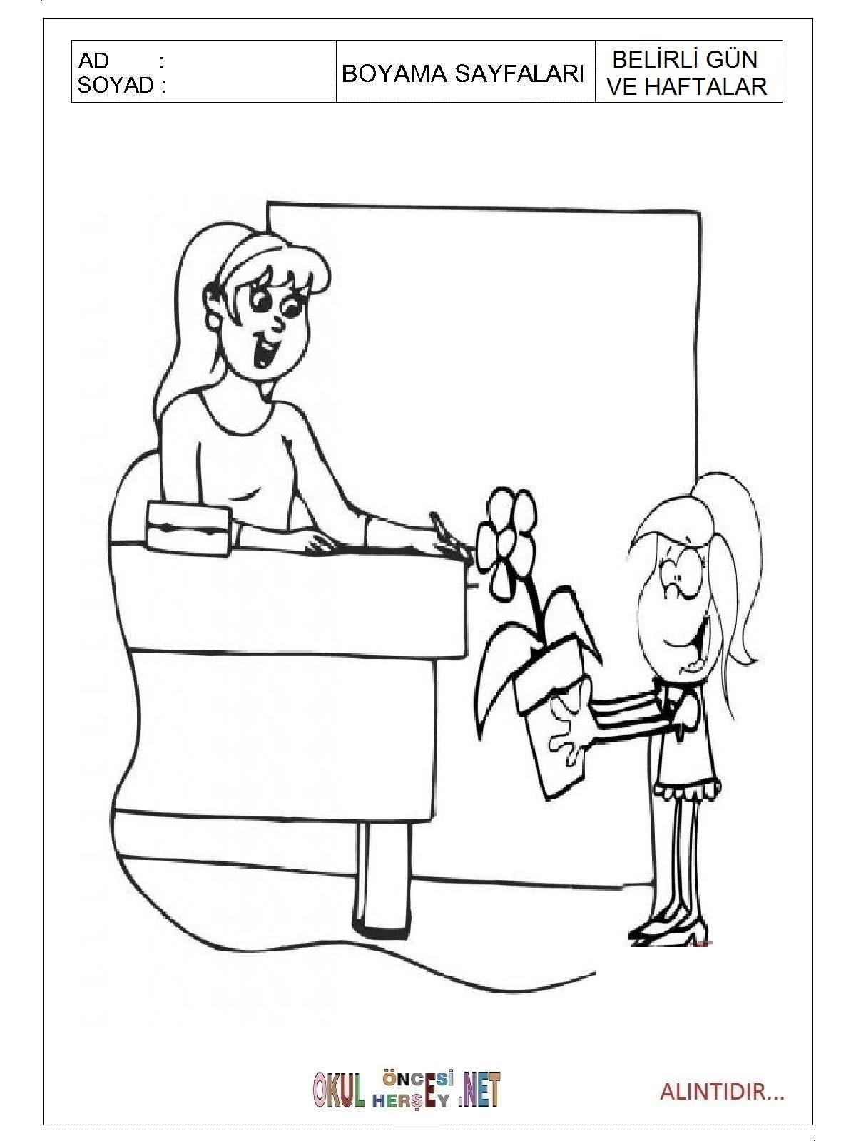 öğretmenler Günü Boyama Sayfaları