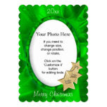Personalize Your Photo: Green Christmas Oval Frame 5x7 Paper Invitation Card