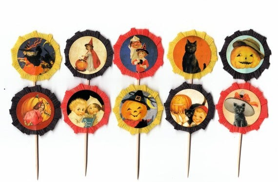 Retro Halloween Cupcake Toppers Set of 10
