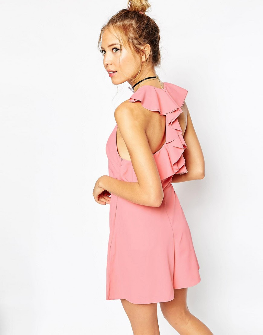 Image 2 of ASOS Ruffle Back Tie Romper with Raw Edge