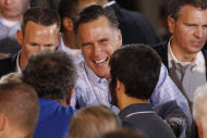 Republican presidential candidate and former Massachusetts Gov. Mitt Romney campaigns at Basalt Public High School, in Basalt, Colo., Thursday, Aug. 2, 2012. (AP Photo/Charles Dharapak)
