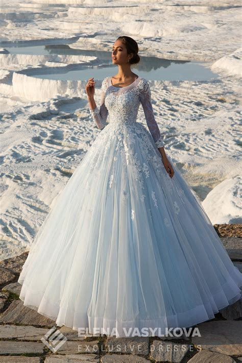 Cinderella Blue Wedding Dresses Elena Vasylkova 2017 With