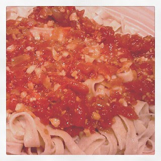 6) homemade pasta with tomatoes, onions,  garlic.and cayenne peppers.