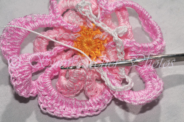 slip stitch in next back 2 threads of joint between Round 6 petals