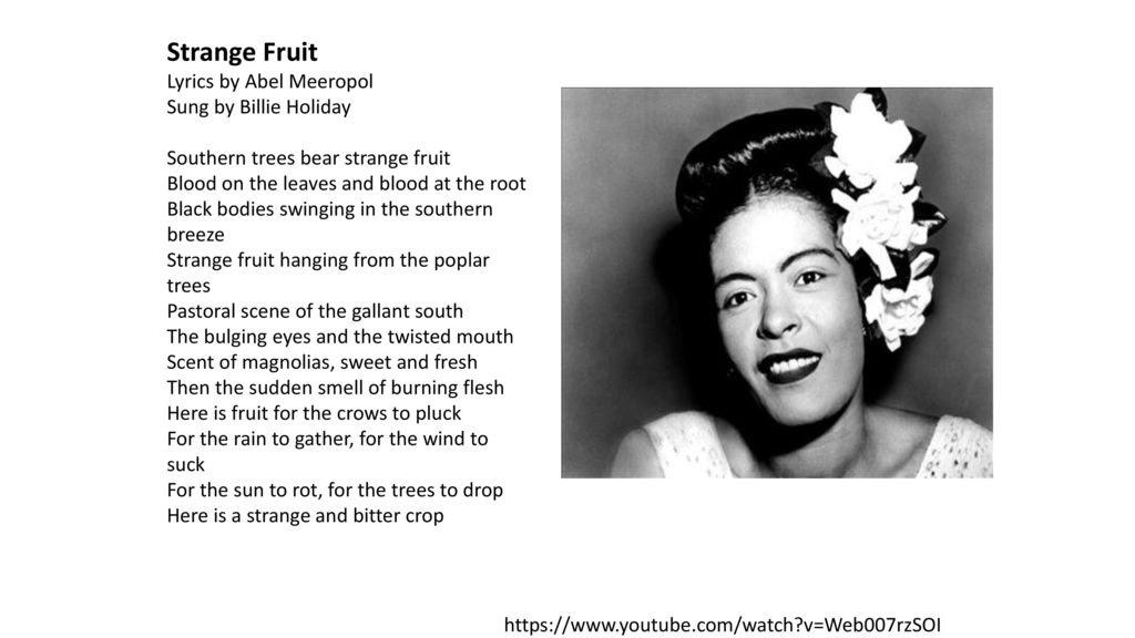 Image result for strange fruit lyrics