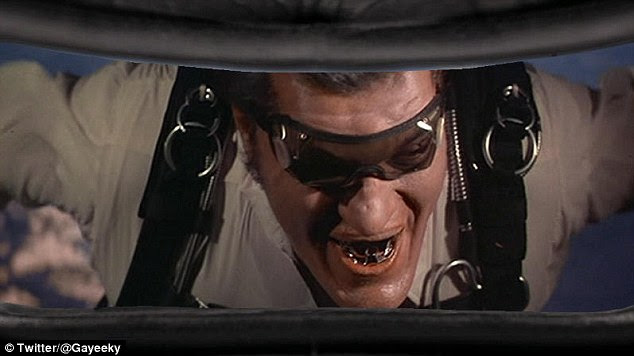How things might have looked if he had been skydiving with Jaws, as played by actor Richard Kiel in Moonraker