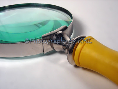 a macro of a magnifying glass